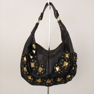 Isabella Fiore Star Studded Morgan Hobo Bag Black